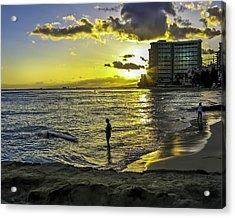 Waikiki Beach At Sunset Acrylic Print