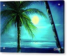 Waikiki Beach Moon #22 Acrylic Print by Donald k Hall