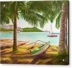 Waikiki Beach Outrigger Canoes 344 Acrylic Print by Donald k Hall