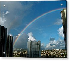 Waikiki Rainbow Acrylic Print by Anthony Baatz