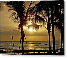 Waikiki Sunset Acrylic Print by Anthony Baatz