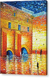 Acrylic Print featuring the painting Wailing Wall Original Palette Knife Painting by Georgeta Blanaru