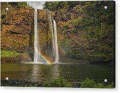 Wailua Falls Rainbow Acrylic Print