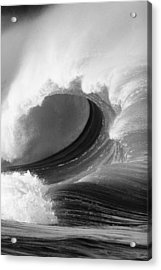 Waimea Bay Wave - Bw Acrylic Print by Vince Cavataio - Printscapes