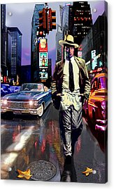 Waine Walking In Times Square Acrylic Print by Jose Roldan Rendon