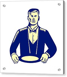 Waiter Cravat Serving Plate Woodcut Acrylic Print by Aloysius Patrimonio