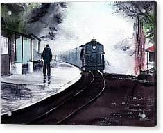 Acrylic Print featuring the painting Waiting by Anil Nene