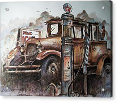 Waiting At The Pump Acrylic Print by Dick  Stanton