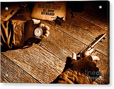 Waiting For High Noon - Sepia Acrylic Print by Olivier Le Queinec