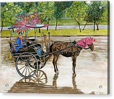 Acrylic Print featuring the painting Waiting For Rider Jakarta Indonesia by Melly Terpening