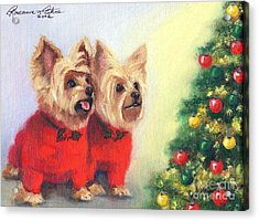 Waiting For Santa Dog Acrylic Print by Roseanne Marie Peters