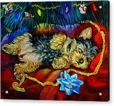 Waiting For Santa Yorkshire Terrier Acrylic Print by Lyn Cook