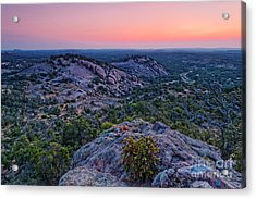 Waiting For Sunrise At Turkey Peak - Enchanted Rock Fredericksburg Texas Hill Country Acrylic Print by Silvio Ligutti
