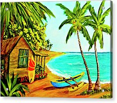 Waiting For The Waves Hawaii #387  Acrylic Print by Donald k Hall
