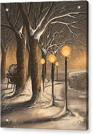 Waiting In The Snow Acrylic Print by Veronica Minozzi