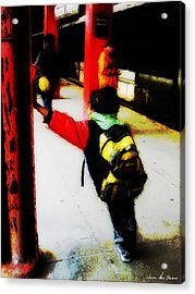 Acrylic Print featuring the photograph Waiting On The Q Train In Flatbush by Iowan Stone-Flowers