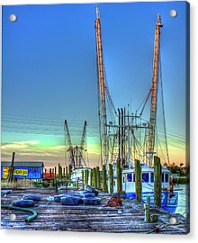Acrylic Print featuring the photograph Waiting Shrimp Boats Wilmington River Tybee Island Georgia Art by Reid Callaway