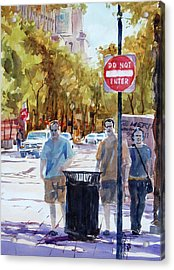 Waiting To Cross Acrylic Print by Ron Stephens