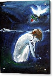 Acrylic Print featuring the painting Waiting by Winsome Gunning