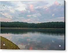 Walden Pond Morning Light Concord Ma Red Clouds Acrylic Print