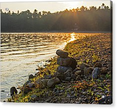 Walden Pond Rock Cairn At Sunrise Concord Ma Acrylic Print