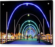 Acrylic Print featuring the photograph Walk Along The Floating Bridge, Willemstad, Curacao by Kurt Van Wagner