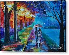 Acrylic Print featuring the painting Walk By The Lake  by Leslie Allen