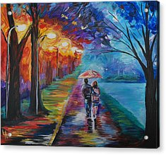 Acrylic Print featuring the painting Walk By The Lake Series 1 by Leslie Allen