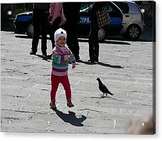 Walk Like A Pigeon Acrylic Print by Thor Sigstedt