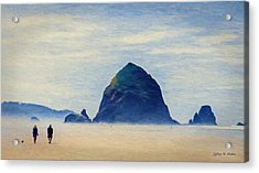 Acrylic Print featuring the painting Walk On The Beach by Jeff Kolker