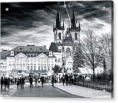 Walk Through The Prague Christmas Market Acrylic Print by John Rizzuto