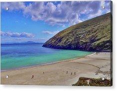 Walkers On Keem Beach, Achill Island Feted By The Green Atlantic Ocean. Acrylic Print by Paul Mc Namara
