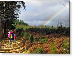 Walkers With Rainbow Acrylic Print