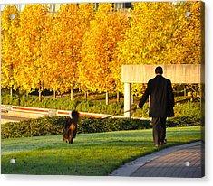 Walkies In Autumn Acrylic Print