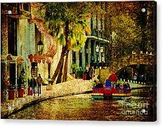 Walking Along The Riverwalk Acrylic Print by Iris Greenwell