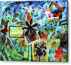 Acrylic Print featuring the mixed media Walking Amongst The Monarchs by Genevieve Esson