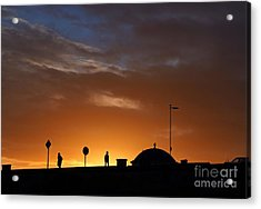 Walking At Sunset Acrylic Print