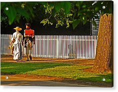 Walking Couple - Williamsburg Acrylic Print by Panos Trivoulides