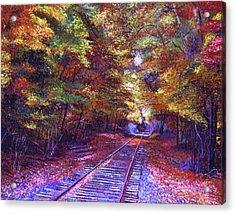 Walking Down The Railway Tracks Acrylic Print by David Lloyd Glover