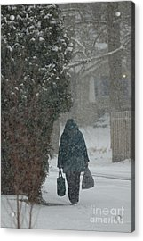 Walking Home In The Snow Acrylic Print