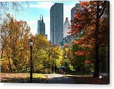 Walking In Central Park Acrylic Print