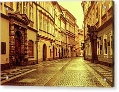 Acrylic Print featuring the photograph Walking In Prague. Series Golden Prague by Jenny Rainbow