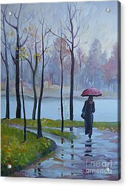 Acrylic Print featuring the painting Walking In The Rain by Elena Oleniuc