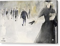 Walking In The Snow Acrylic Print by Beverly Brown