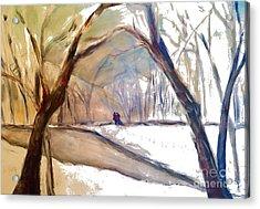 Walking In White Acrylic Print