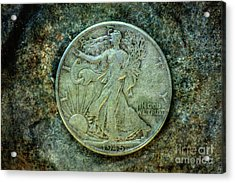 Acrylic Print featuring the digital art Walking Liberty Half Dollar Obverse by Randy Steele