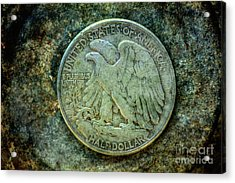 Acrylic Print featuring the digital art Walking Liberty Half Dollar Reverse by Randy Steele
