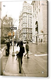 Walking New York Acrylic Print by Michael Peychich
