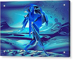 Acrylic Print featuring the digital art Walking On A Stormy Beach by Robert G Kernodle
