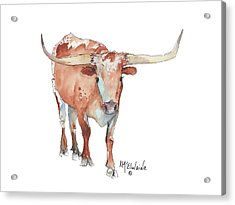 Walking Tall Texas Longhorn Watercolor And Ink By Kmcelwaine Acrylic Print